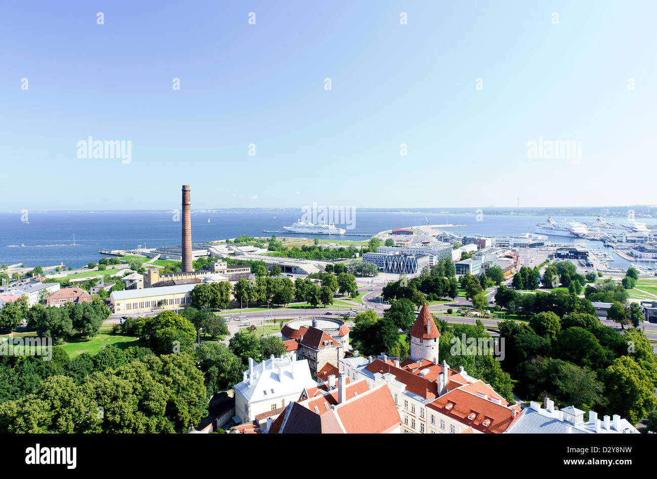 View of the old town (Tallinn, Estonia) - Stock Image