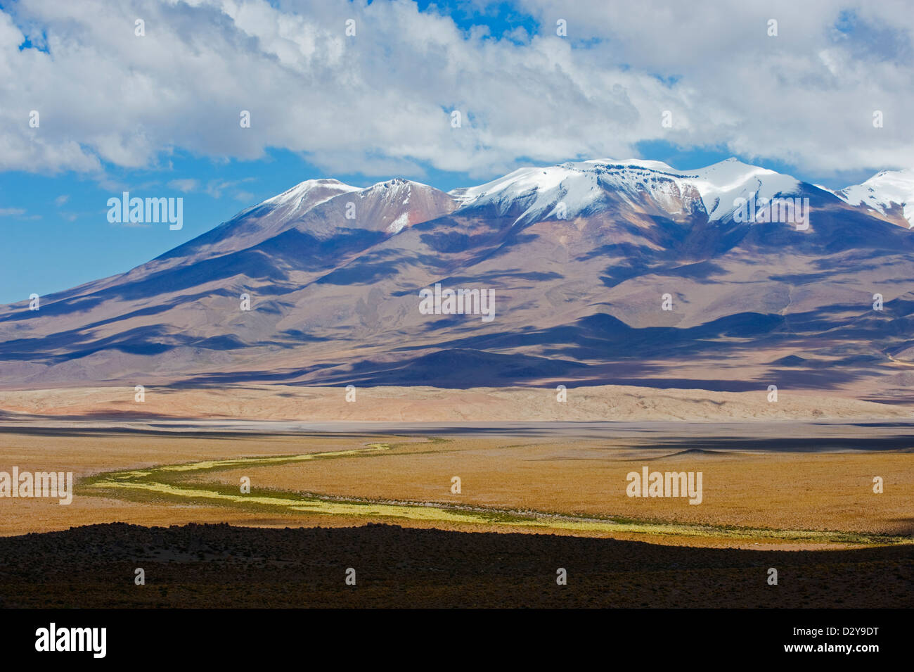 snow capped mountains on the altiplano bolivia south america stock