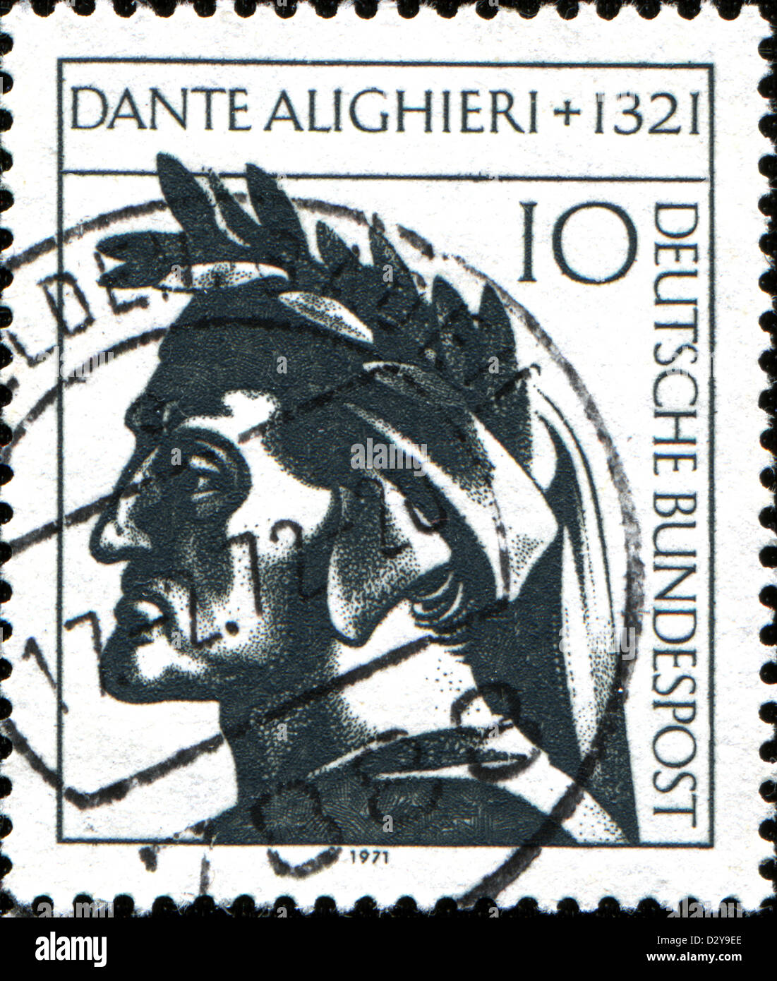 GERMANY - CIRCA 1971: A stamp printed in Germany shows Dante Alighieri, Italian Poet, circa 1971 - Stock Image