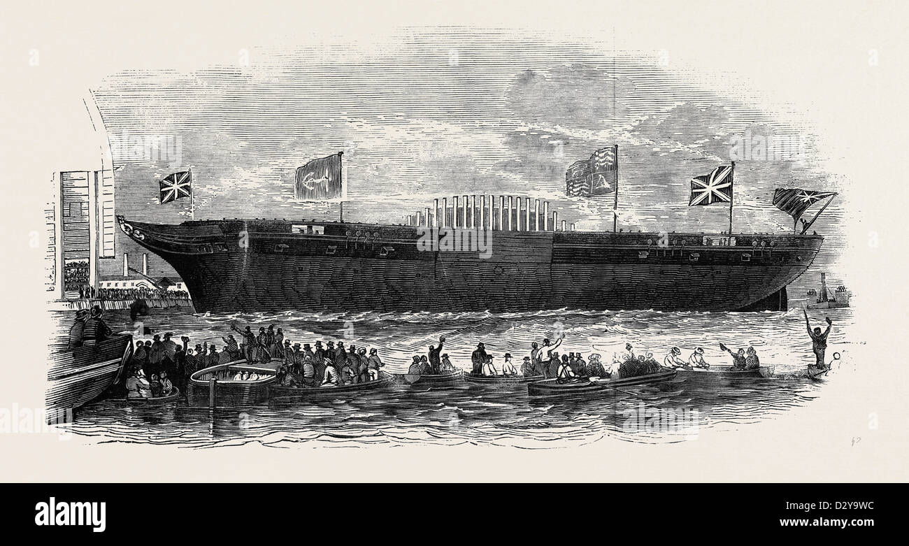 LAUNCH OF THE STEAM FRIGATE, 'TERRIBLE,' ON THURSDAY AFTERNOON FROM HER MAJESTY'S DOCK-YARD AT DEPTFORD - Stock Image