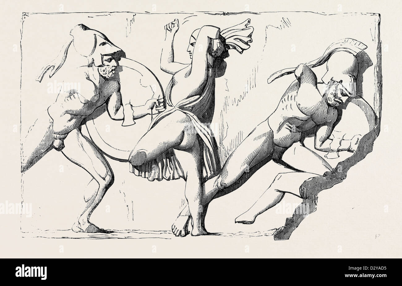 THE BOUDROUM MARBLES: NO. 3. PART OF A FRIEZE REPRESENTING A BATTLE BETWEEN THE AMAZONS AND THE GREEKS - Stock Image