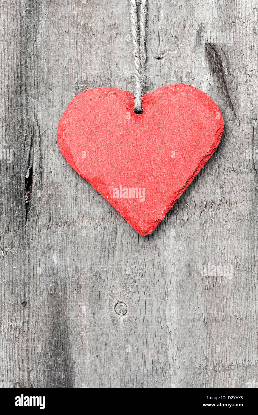 Valentines Day Heart Shaped Ornament Decoration On Rustic Style Background