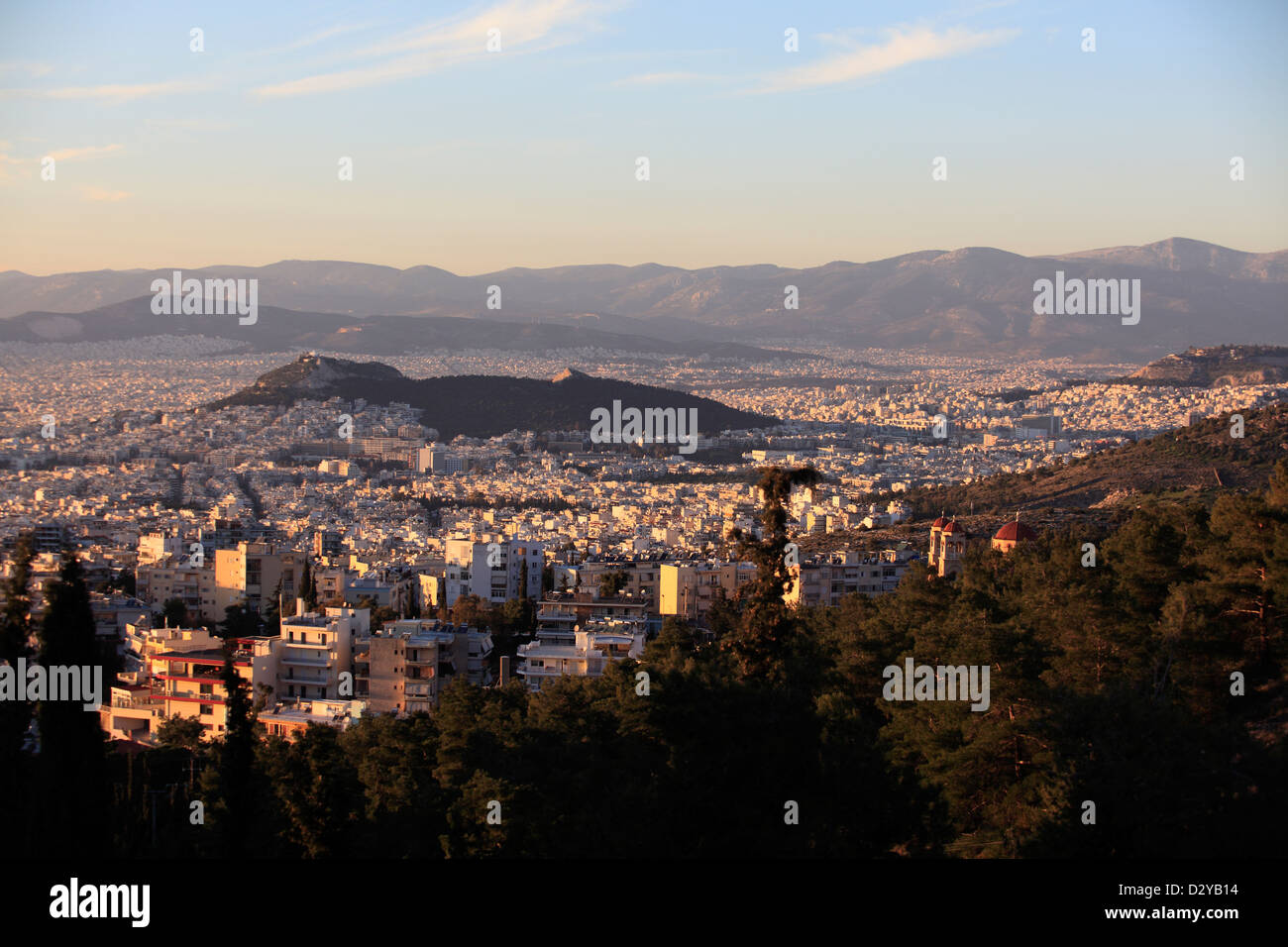 greece athens attica the view over the city from mount hymettus - Stock Image