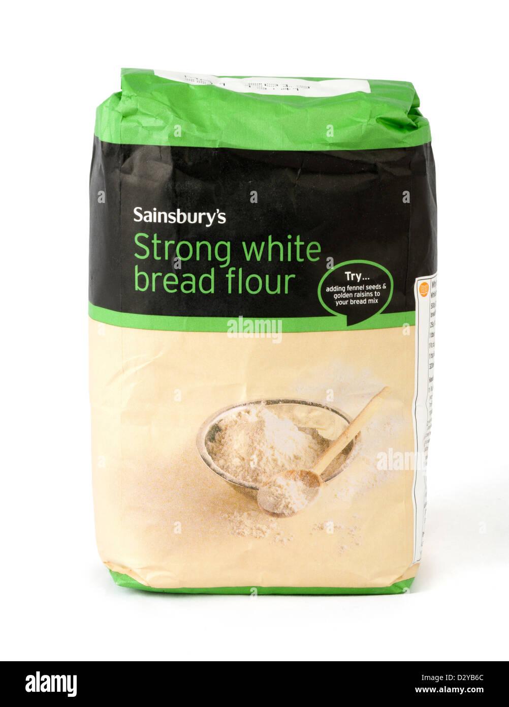 Bag of strong white bread flour, UK - Stock Image