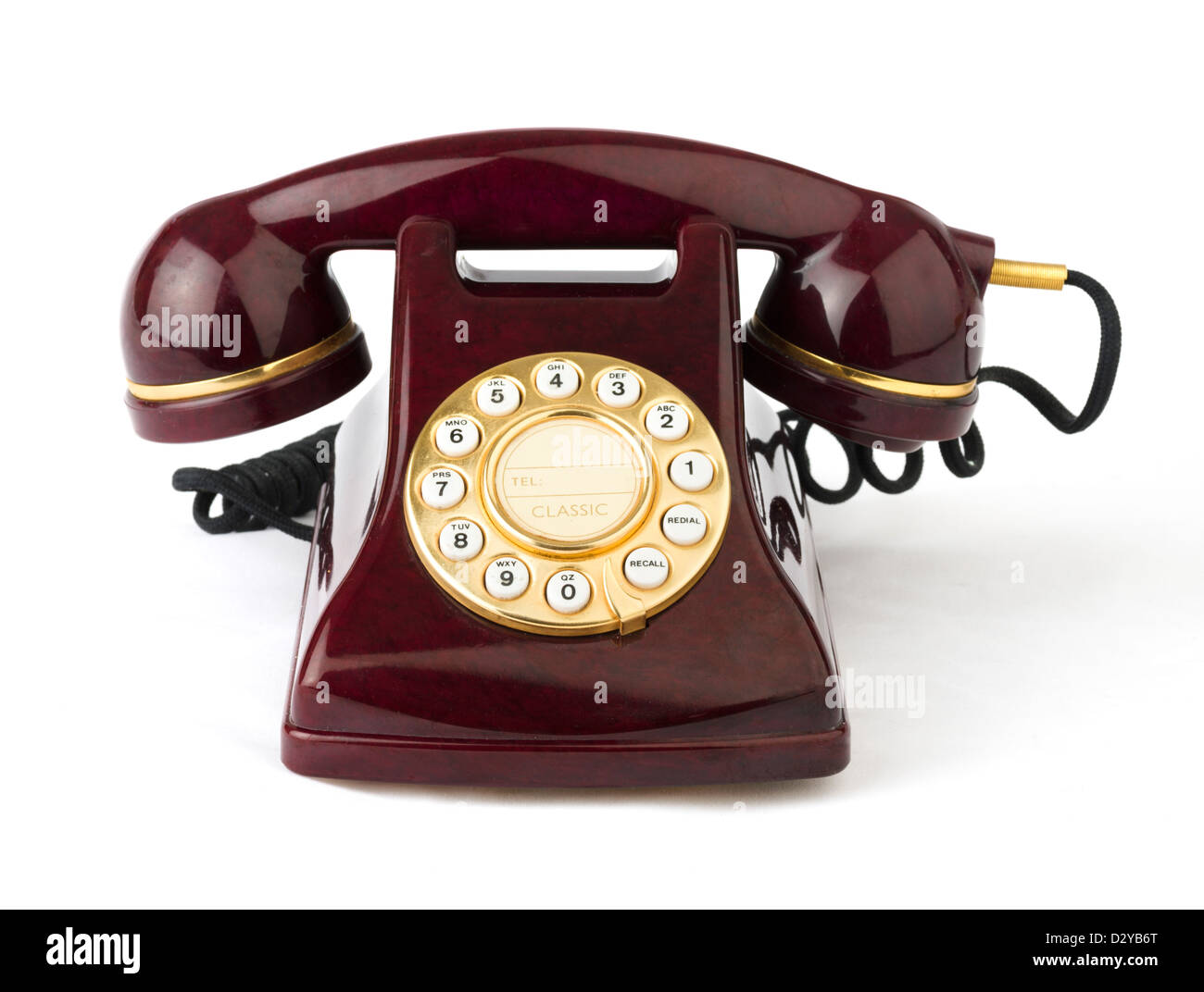 Push button replica of an old fashioned rotary dial telephone, UK - Stock Image