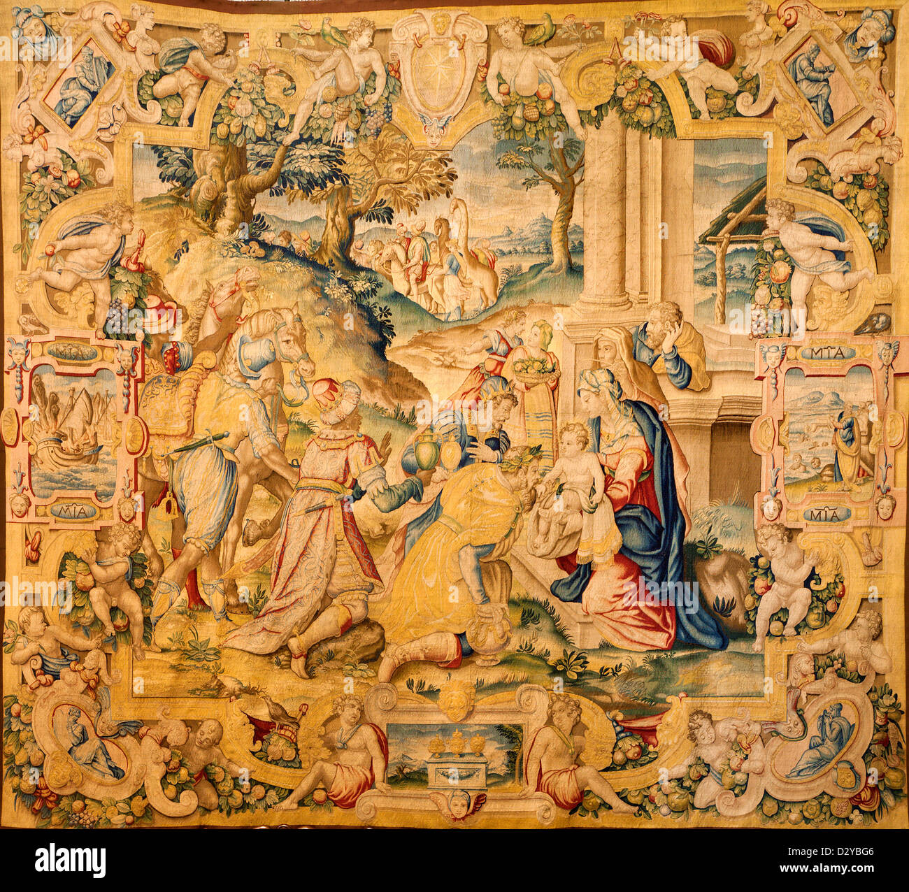 BERGAMO - JANUARY 26: Gobelin of Adoration of the magi from year 1583 by  Alessandro Allori in church Santa Maria Maggiore