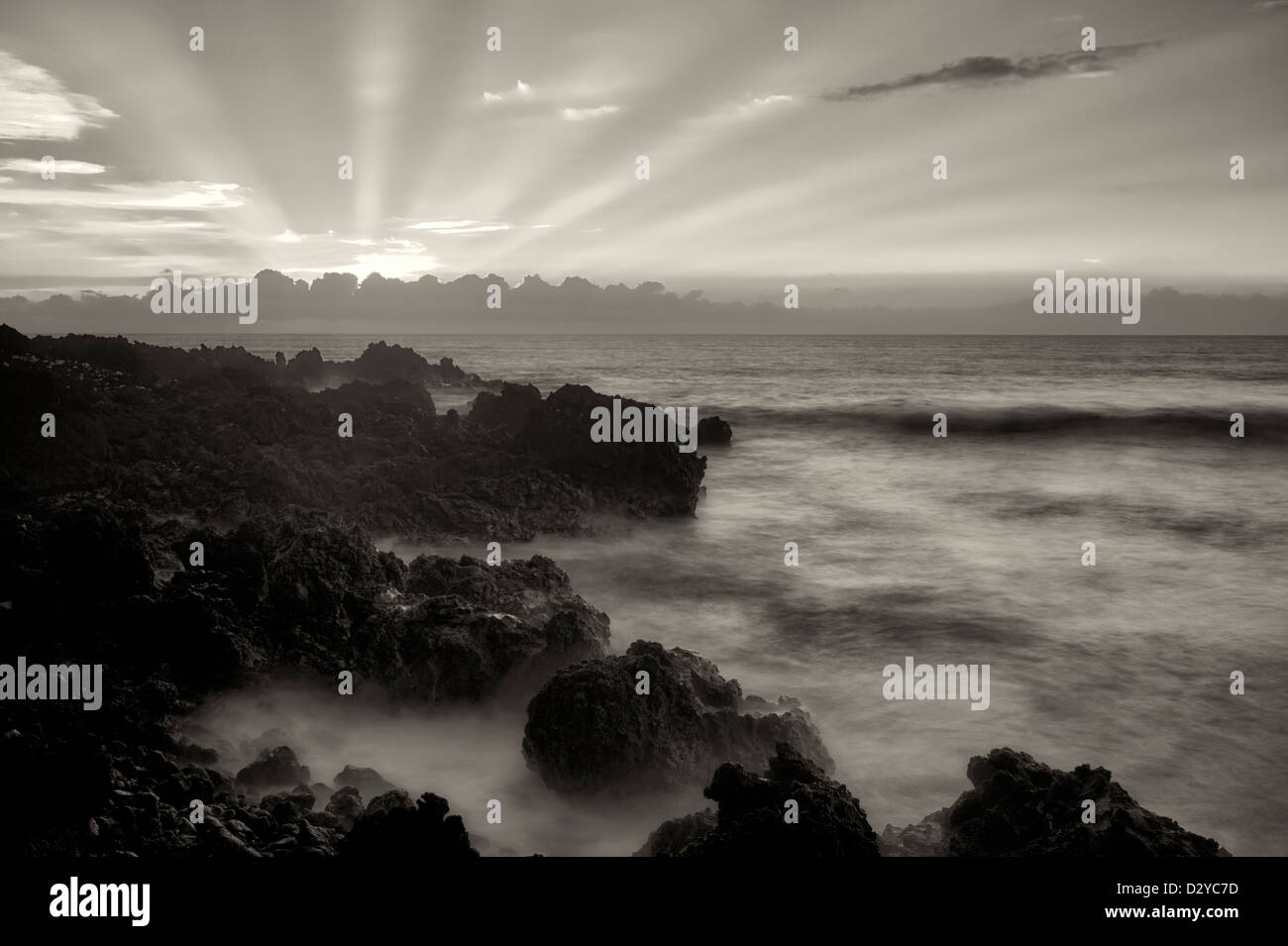 Sunset with God's rays. The Kohala Coast. The Big Island, Hawaii. - Stock Image