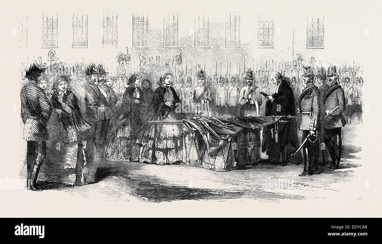 PRESENTATION OF COLOURS TO THE 14TH REGIMENT BY THE COUNTESS OF EGLINTON - Stock Image