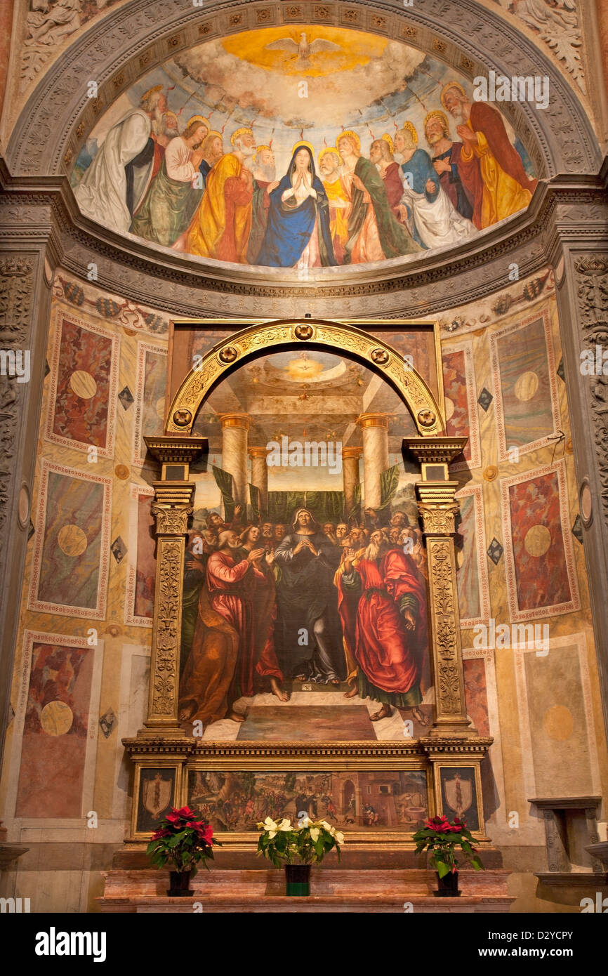 VERONA - JANUARY 27: Chapel Miniscalchi in Saint Anastasia's church from year 1506 designed by Angelo di Giovanni - Stock Image