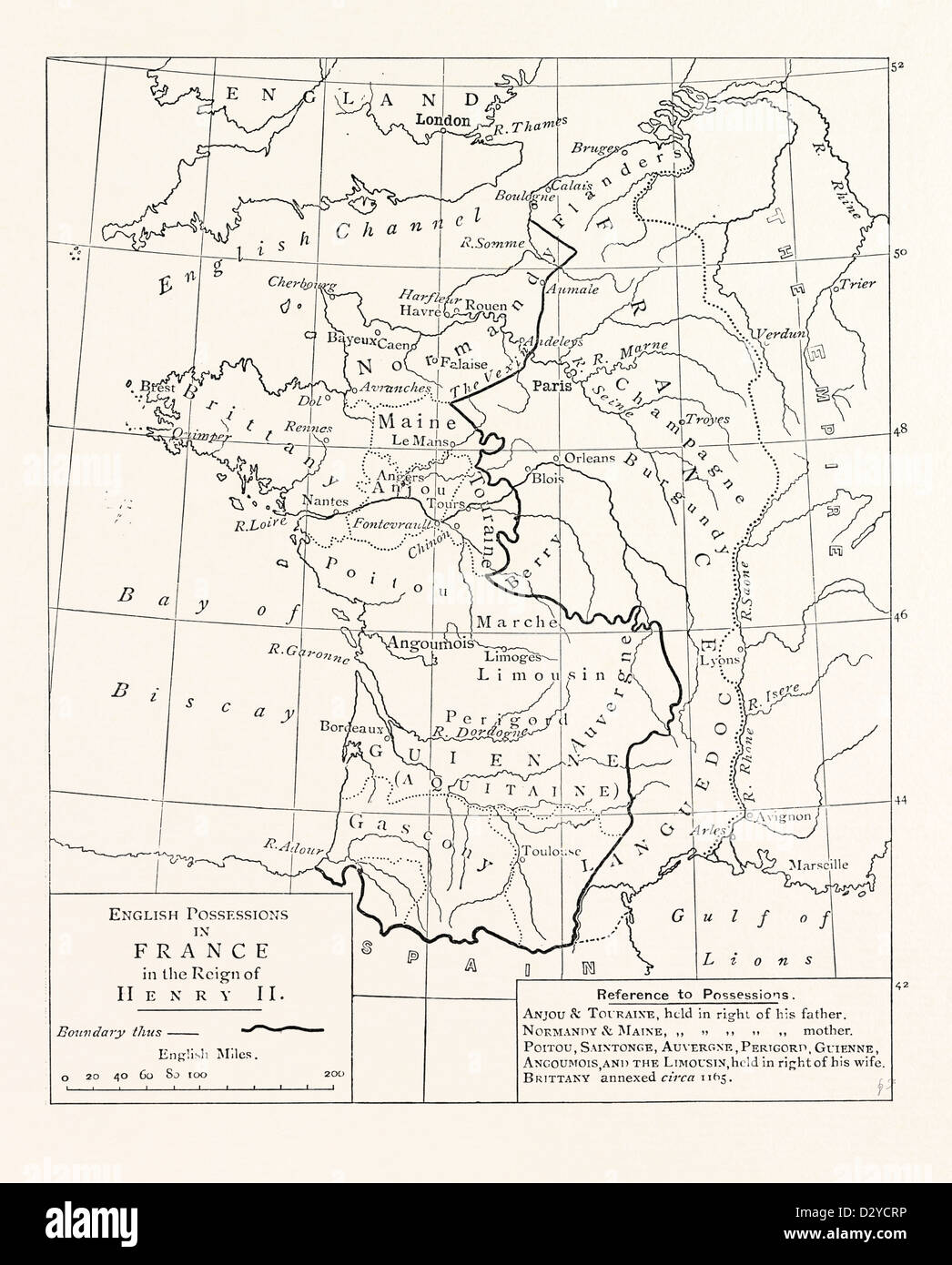 MAP OF THE ENGLISH POSSESSIONS IN FRANCE (1189). - Stock Image