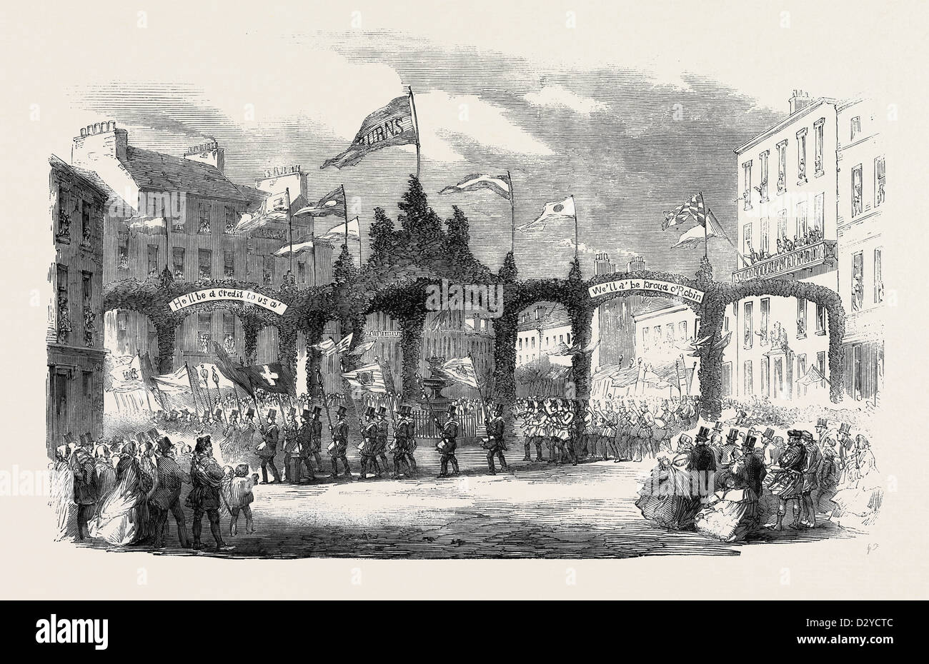 THE PROCESSION AT DUMFRIES: TRIPLE ARCH IN THE HIGH STREET THE BURNS CENTENARY - Stock Image