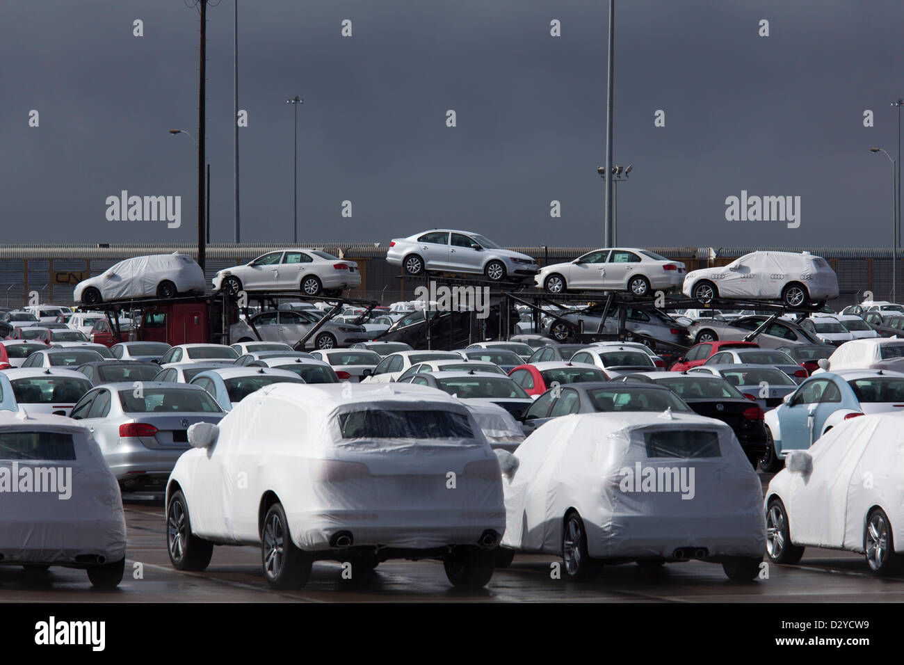National City, California - Imported cars on the dock at the Port of San Diego. Stock Photo
