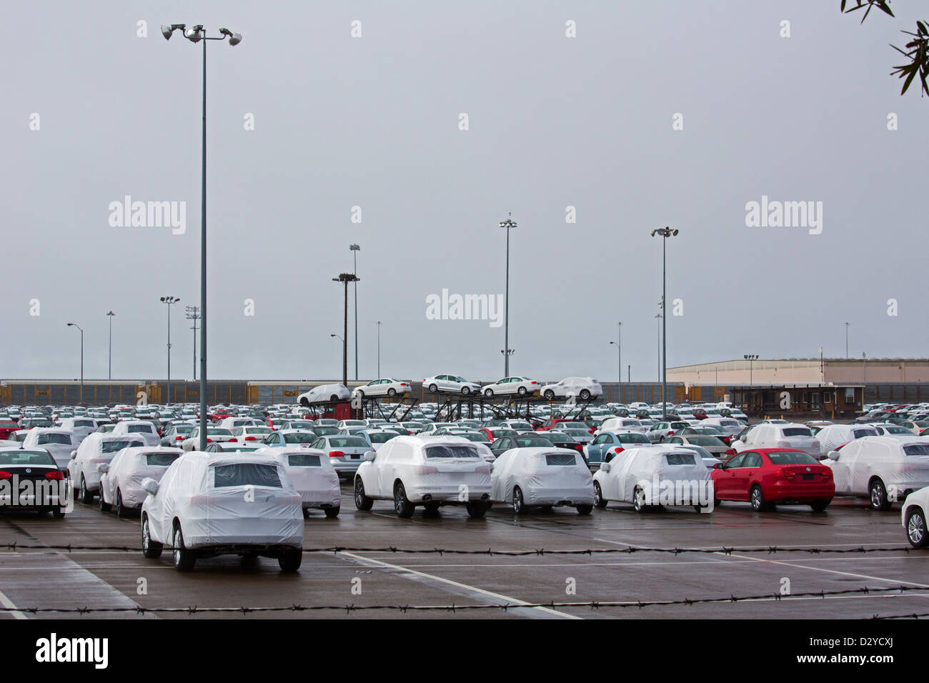 National City, California - Imported cars on the dock at the Port of San Diego. - Stock Image