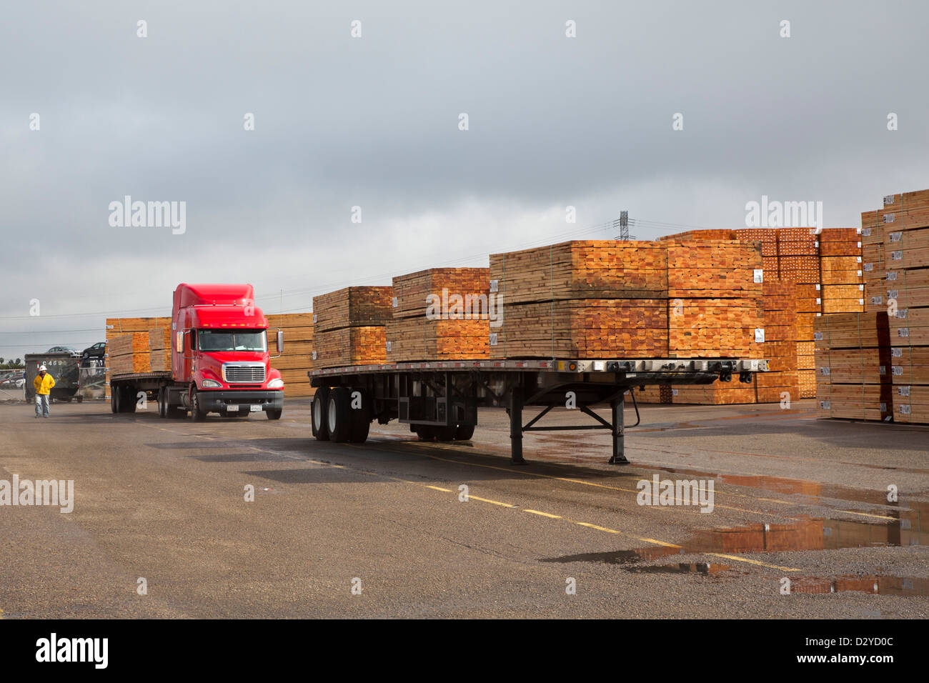 National City, California - Imported lumber awaits distribution at the Port of San Diego. - Stock Image