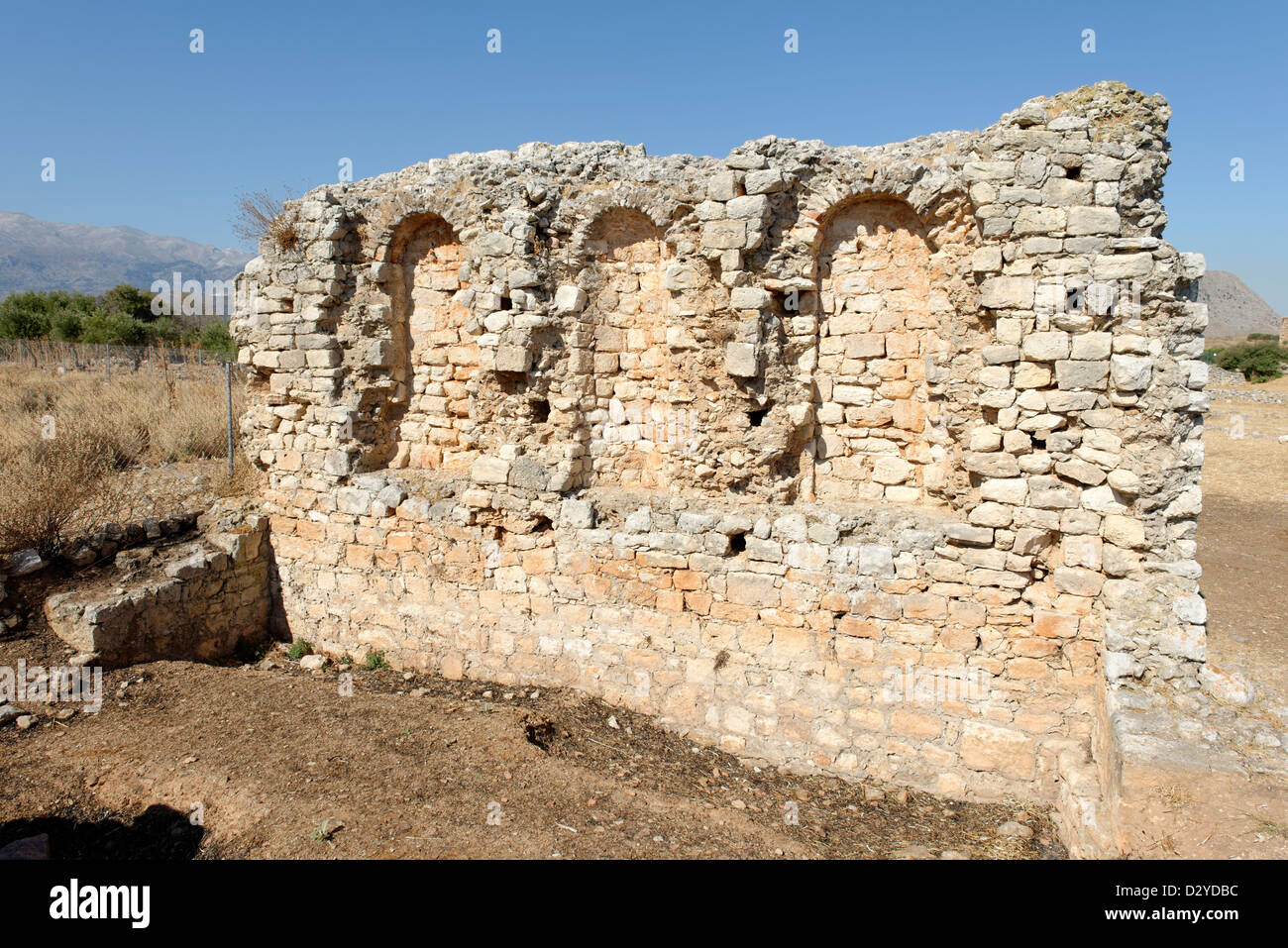 Aptera. Crete. Greece. Roman public building with niches dating from the Roman period 1st century BC- 4th century - Stock Image