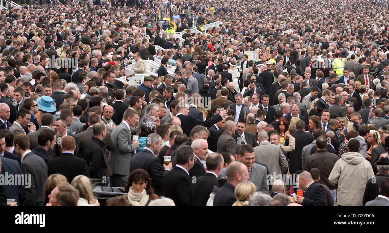 Liverpool, United Kingdom, spectators on the day of the Grand National at the racecourse Stock Photo
