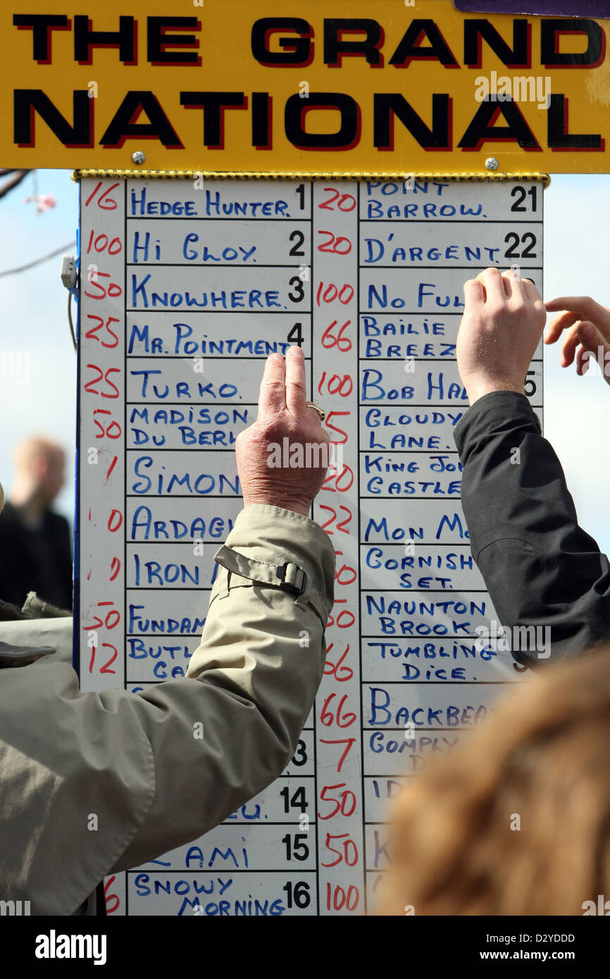 Liverpool, United Kingdom, odds board a bookmaker - Stock Image