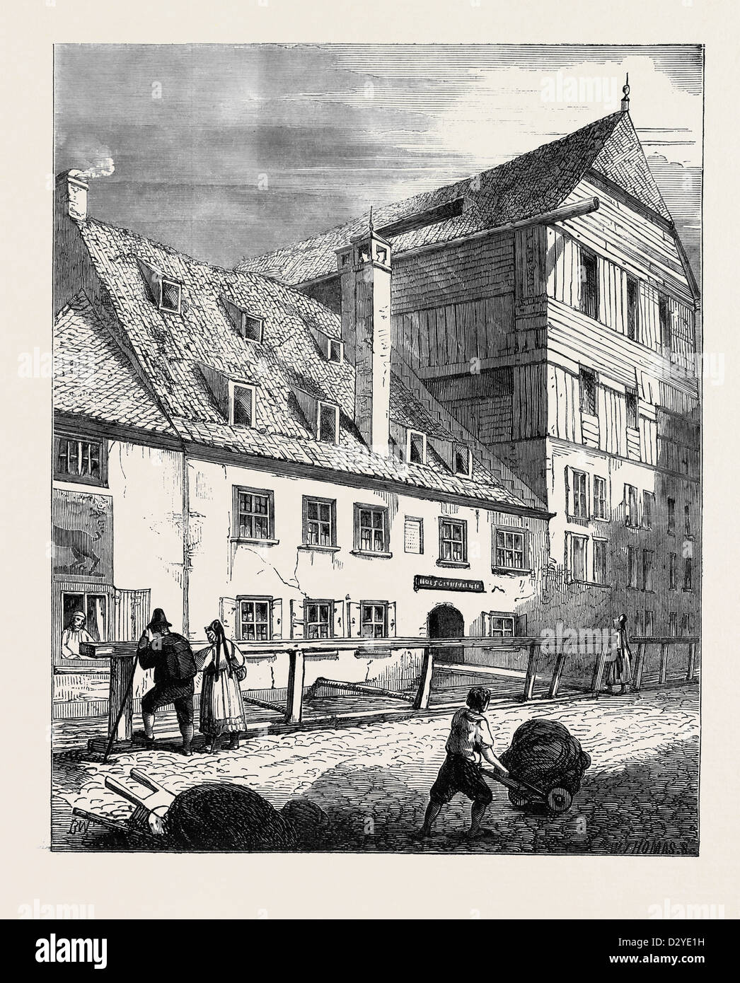 HOUSE AT AUGSBURG IN WHICH HOLBEIN WAS BORN - Stock Image