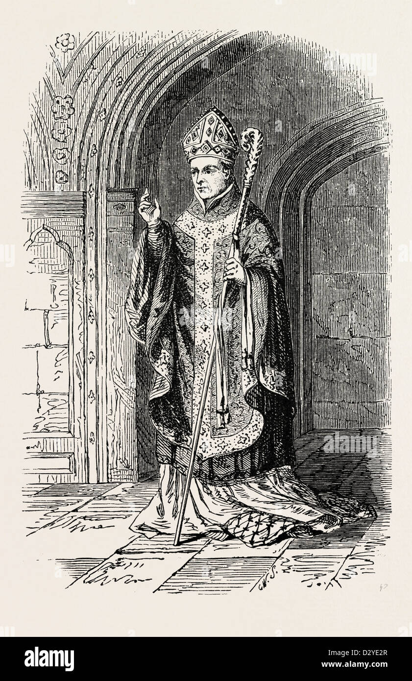 COSTUME OF BISHOP OF THE 14TH CENTURY. - Stock Image