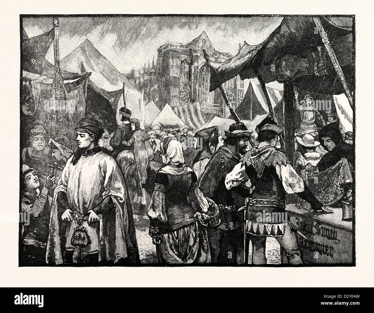 FAIR AT WESTMINSTER IN THE FOURTEENTH CENTURY - Stock Image