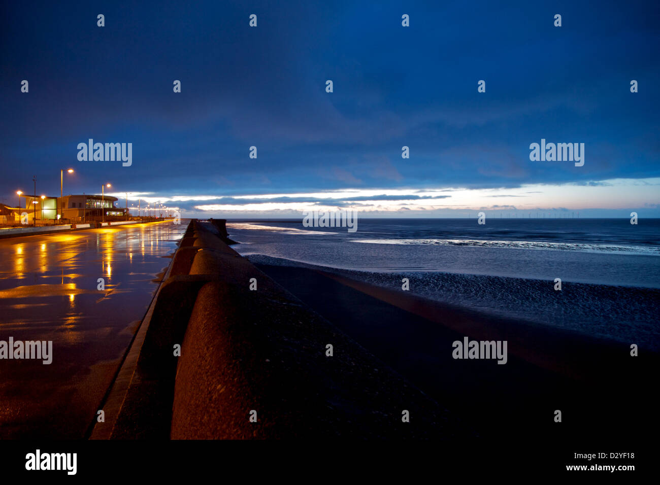 A series of low light coastal and urban landscapes taken at New Brighton, Wirral, Merseyside, England, UK. - Stock Image