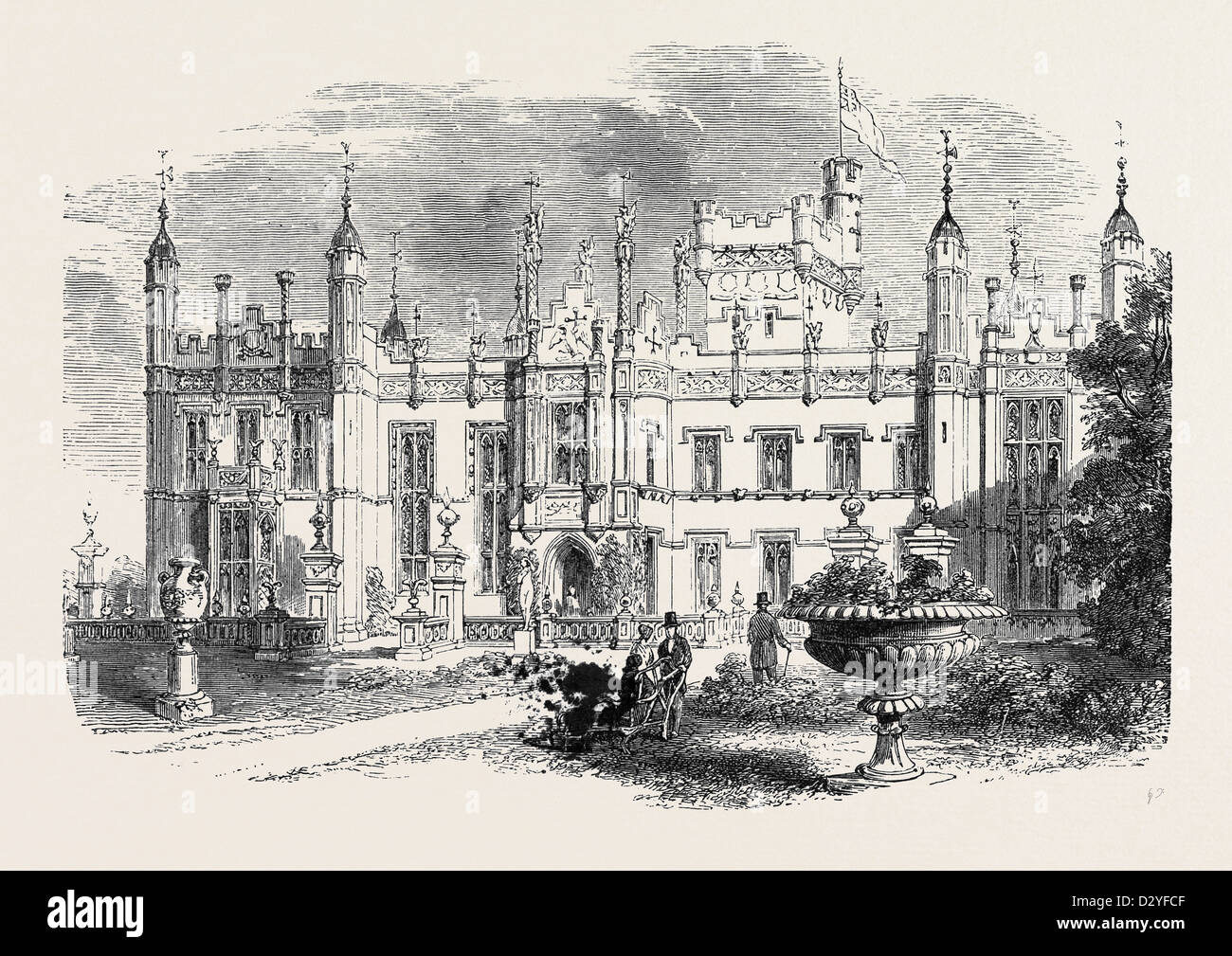 KNEBWORTH HERTFORDSHIRE THE SEAT OF THE LATE LORD LYTTON 1873 Stock Photo