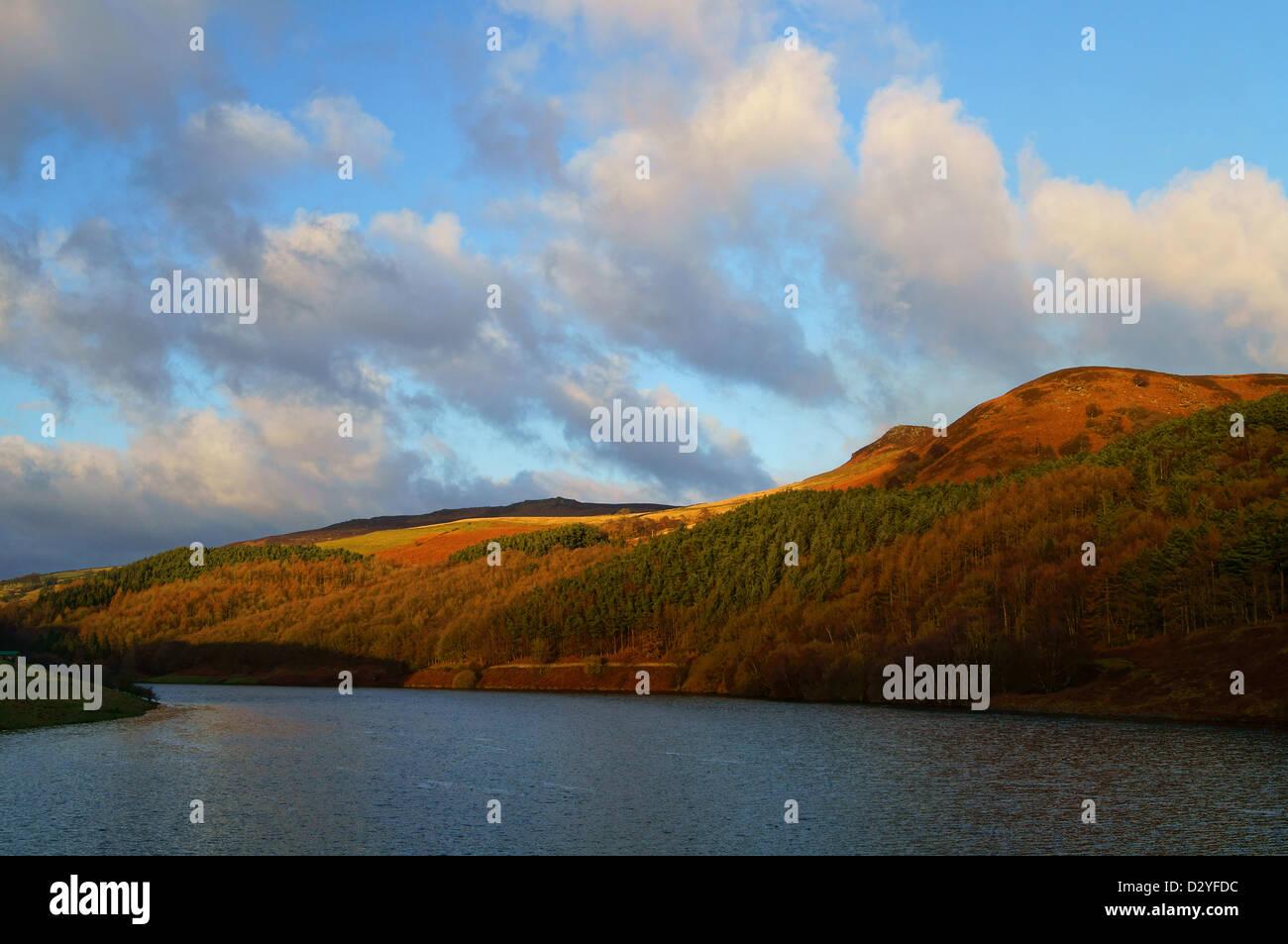 UK, Peak District,Ladybower Reservoir viewed from Ashopton Viaduct - Stock Image