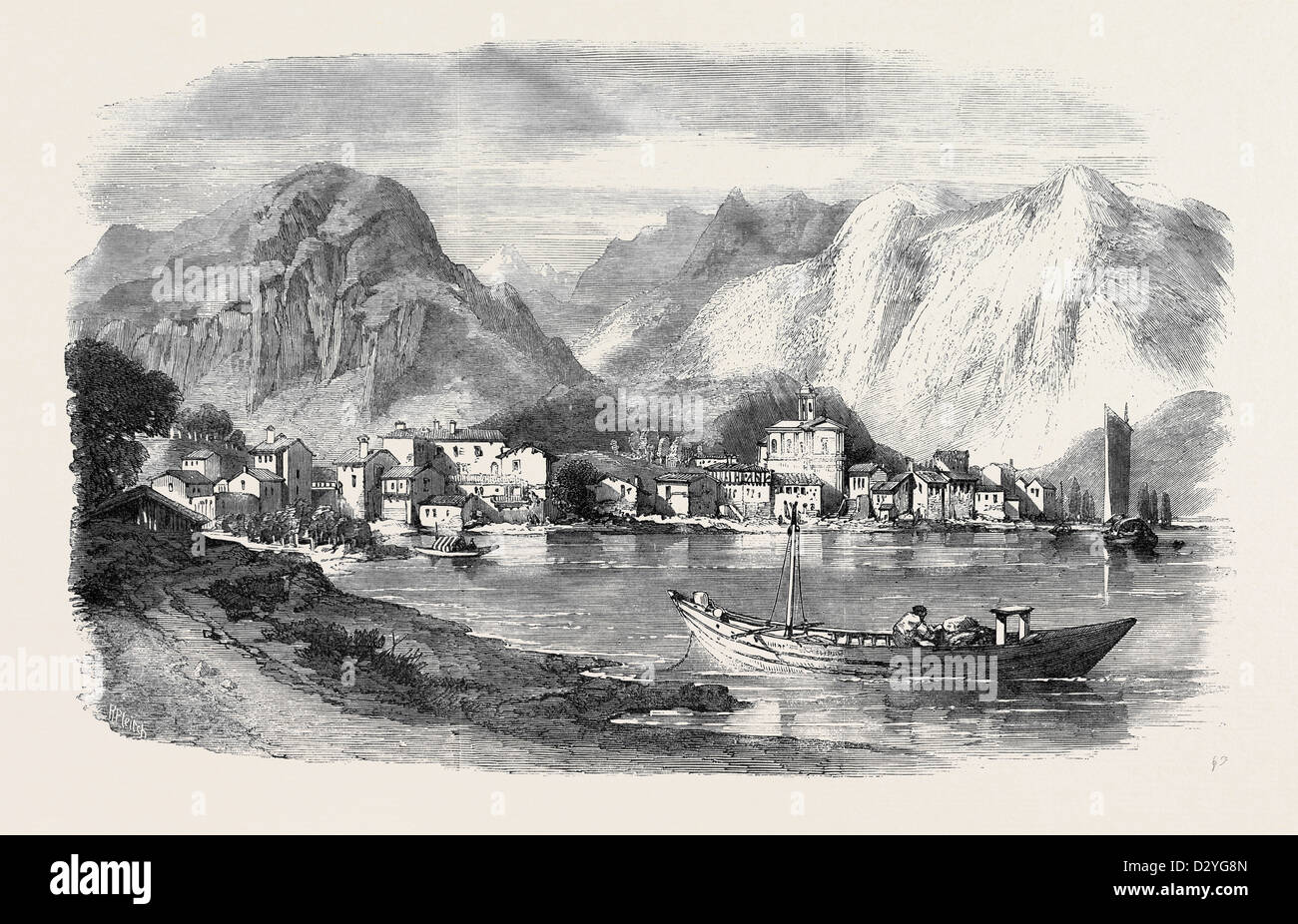 THE WAR FERIOLO ON THE LAGO MAGGIORE FROM A SKETCH BY W.L. LEITCH - Stock Image