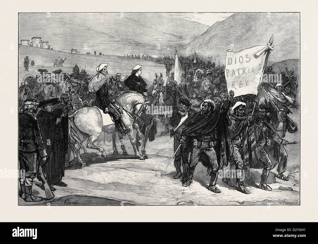 REVIEW OF CARLIST VOLUNTEERS IN CATALONIA BY DON ALFONSO 1873 - Stock Image