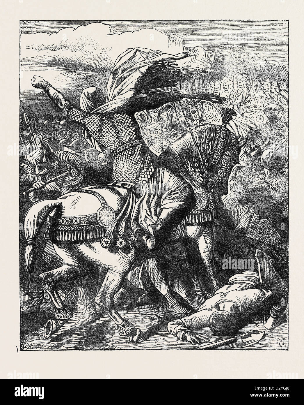 ILLUSTRATED EDITION OF LALLA ROOKH: BATTLE SCENE FROM THE VEILED PROPHET OF KHORASSAN - Stock Image
