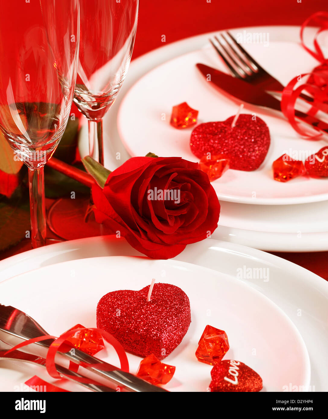 Picture of beautiful romantic table setting luxury white plates served with silverware and glasses for wine & Picture of beautiful romantic table setting luxury white plates ...