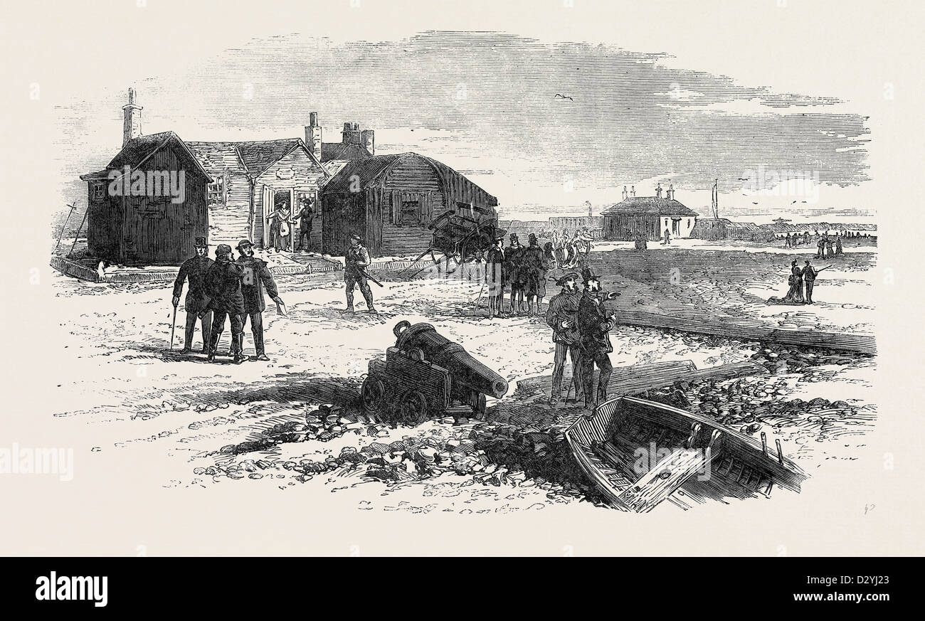 THE DISASTER IN THE CHANNEL: THE CHIEF BOATMAN'S HOUSE FIRST BATTERY DUNGENESS 1873 - Stock Image