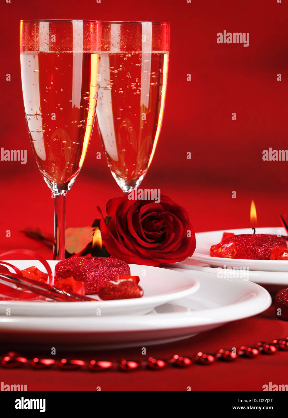 Photo of beautiful red romantic table setting white festive utensil with romantic decorations two glass of wine & Photo of beautiful red romantic table setting white festive utensil ...
