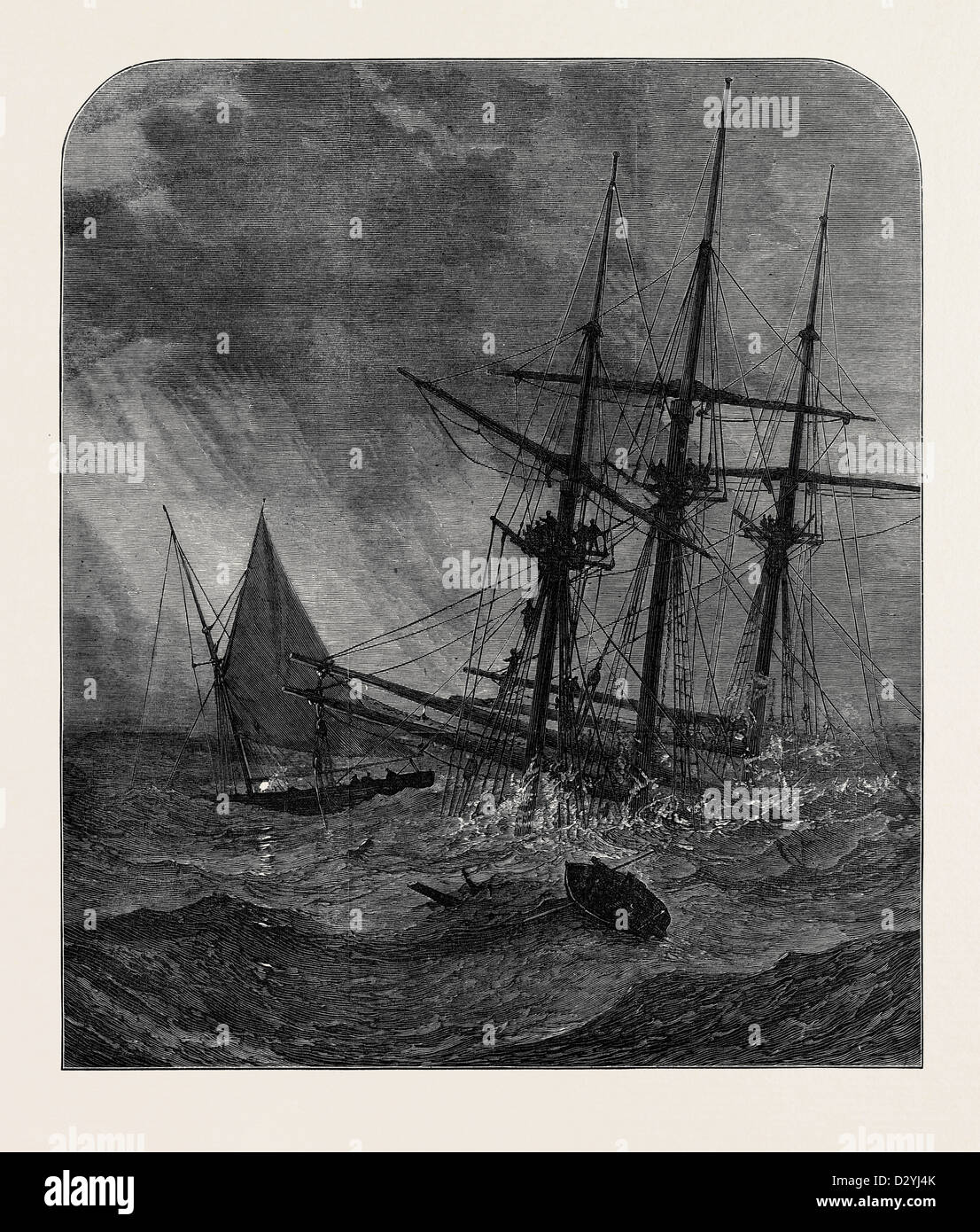 THE DISASTER IN THE CHANNEL: CUTTER'S BOAT TAKING SURVIVORS FROM THE RIGGING OF THE NORTHFLEET 1873 - Stock Image