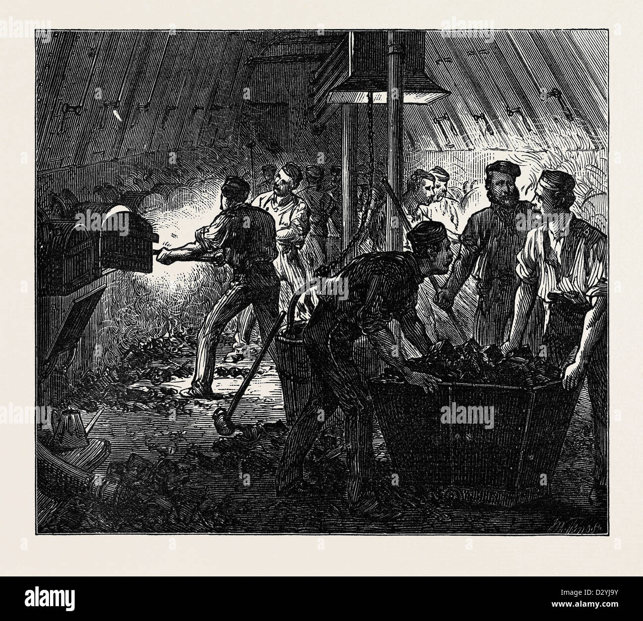 LIFE ON BOARD A TROOP SHIP: THE STOKEHOLE 1874 - Stock Image