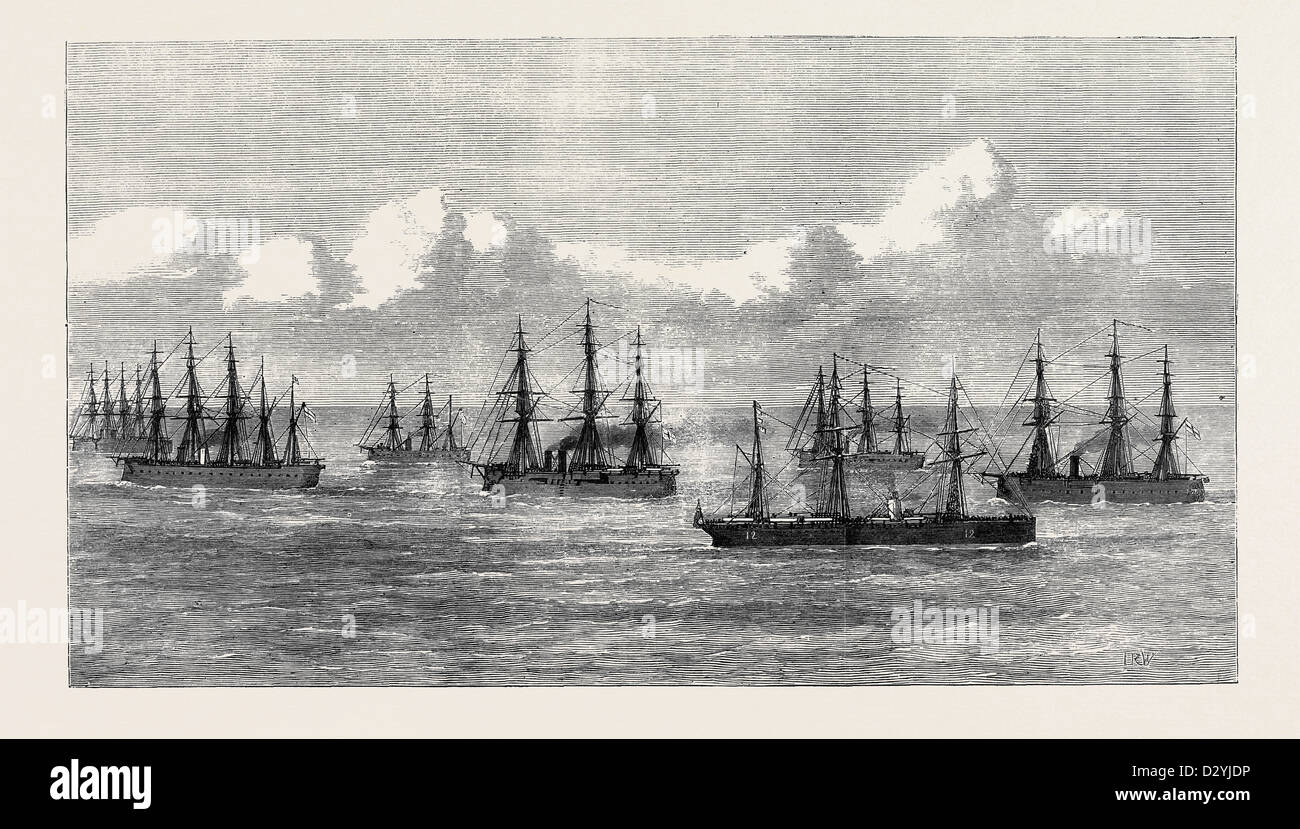 THE TRANSPORT SARMATIAN BOUND FOR THE GOLD COAST PASSING THE CHANNEL SQUADRON 1874 - Stock Image