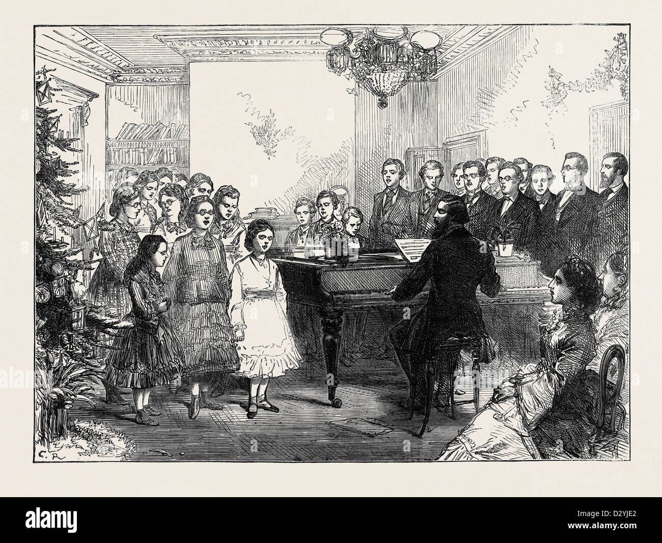 CHRISTMAS PARTY AT THE ROYAL NORMAL COLLEGE OF MUSIC FOR THE BLIND 1874 - Stock Image