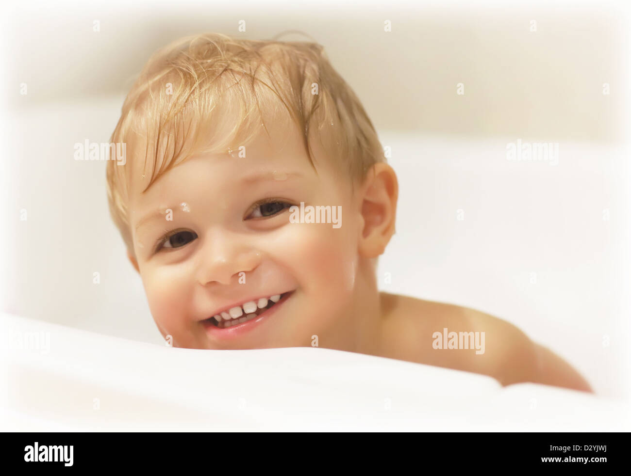Picture of cute baby boy taking bath, happy childhood, childs Stock ...