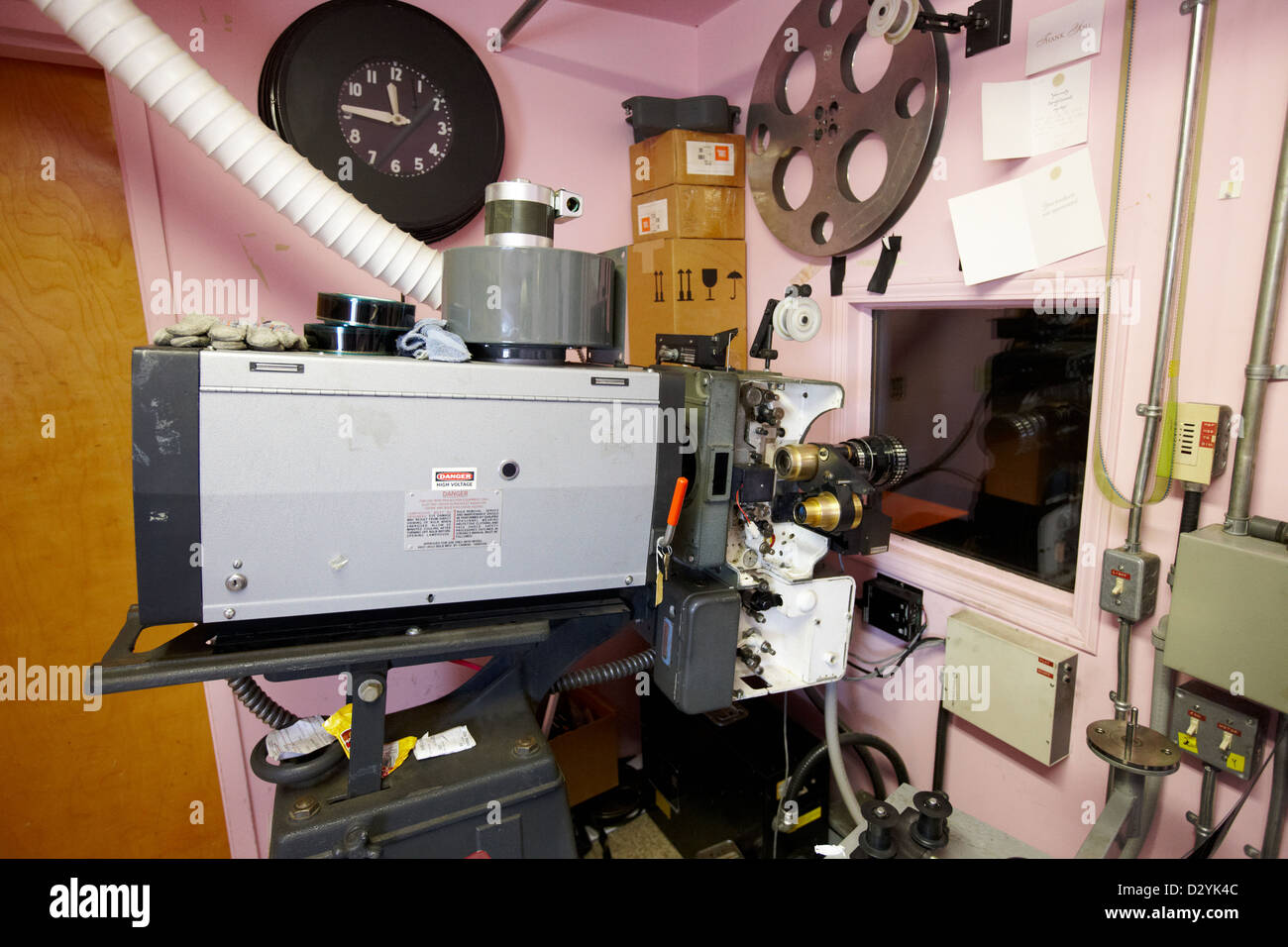 super lume-x lamphouse film projector in old cinema projection room Biggar Saskatchewan Canada - Stock Image