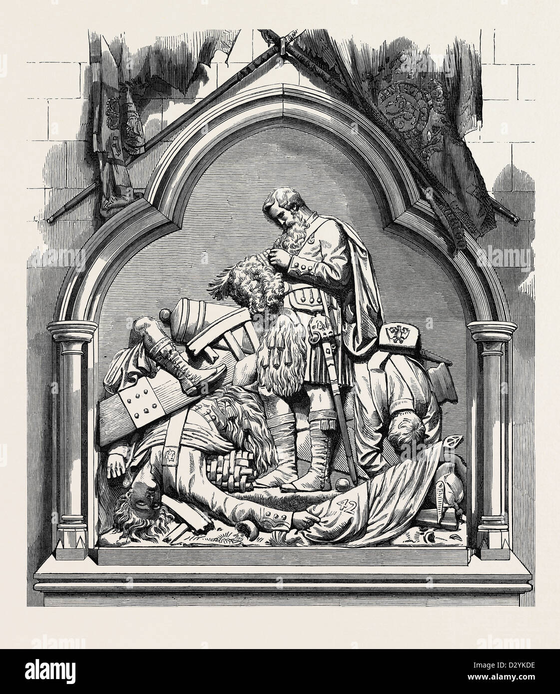 MONUMENT TO THE 42ND HIGHLANDERS IN DUNKELD CATHEDRAL 1874 - Stock Image