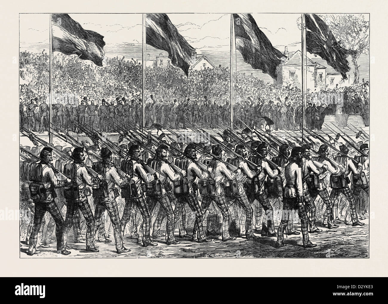 RETURN OF THE TROOPS FROM ASHANTEE: THE BLACK WATCH (42ND HIGHLANDERS) MARCHING TO GOVERNOR'S GREEN PORTSMOUTH - Stock Image