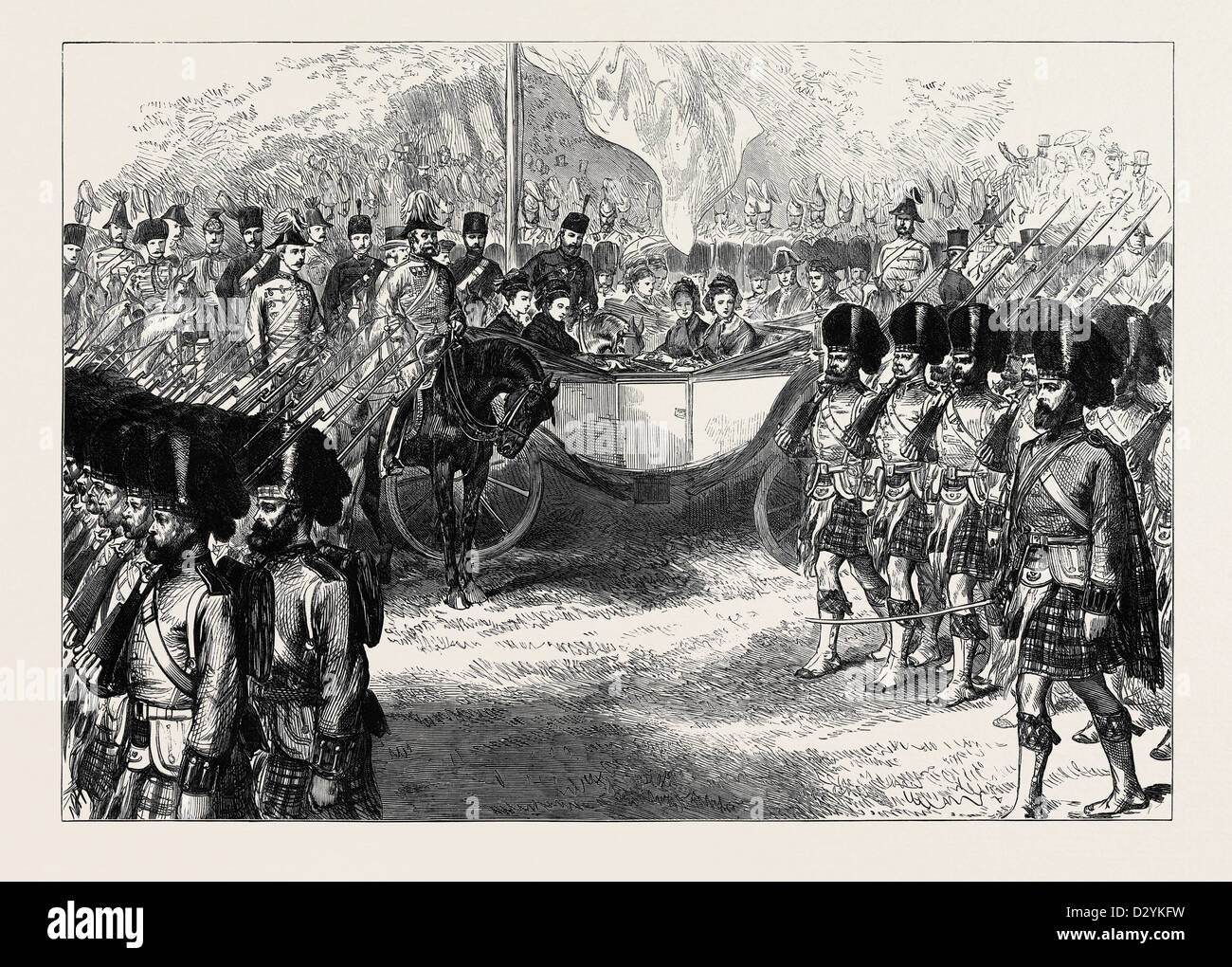REVIEW AT WINDSOR OF TROOPS FROM THE ASHANTEE WAR: THE 42ND HIGHLANDERS MARCHING PAST THE QUEEN 1874 - Stock Image