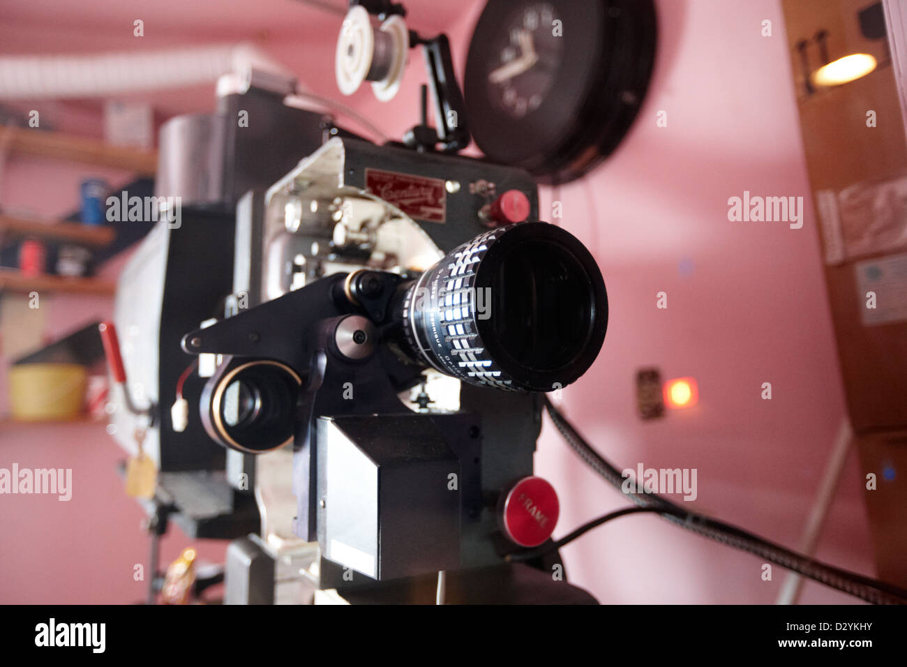 lenses on old film projector in old cinema projection room Biggar Saskatchewan Canada - Stock Image