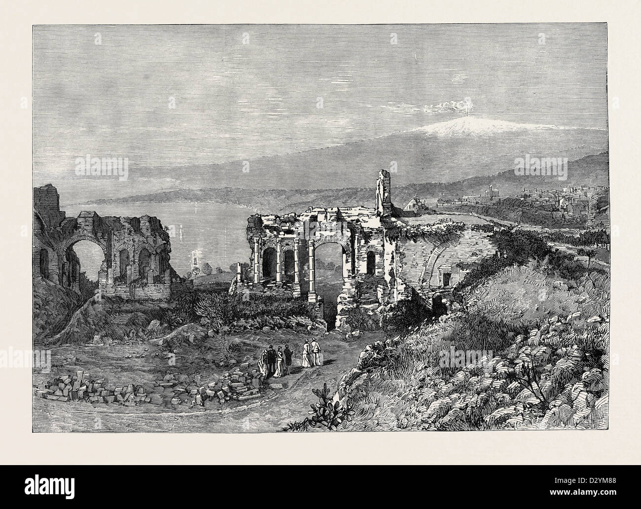 THE DUKE AND DUCHESS OF CONNAUGHT IN SICILY: ANCIENT GREEK THEATRE AT TAORMINA 1879 - Stock Image
