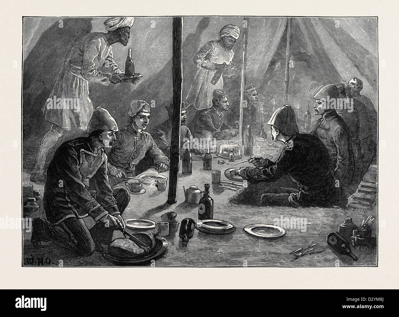 THE AFGHAN WAR: MESS TENT OF THE FOURTH BATTALION OF RIFLES AT BASAWUL 1879 - Stock Image