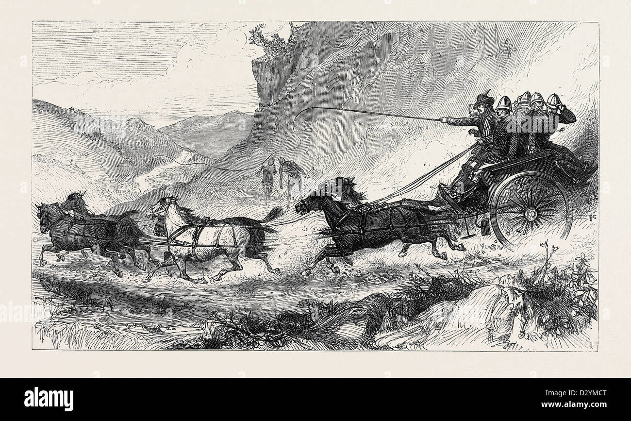 THE ZULU WAR: GENERAL MARSHALL AND STAFF GOING TO THE FRONT: POST CART TRAVELLING IN NATAL 1879 - Stock Image