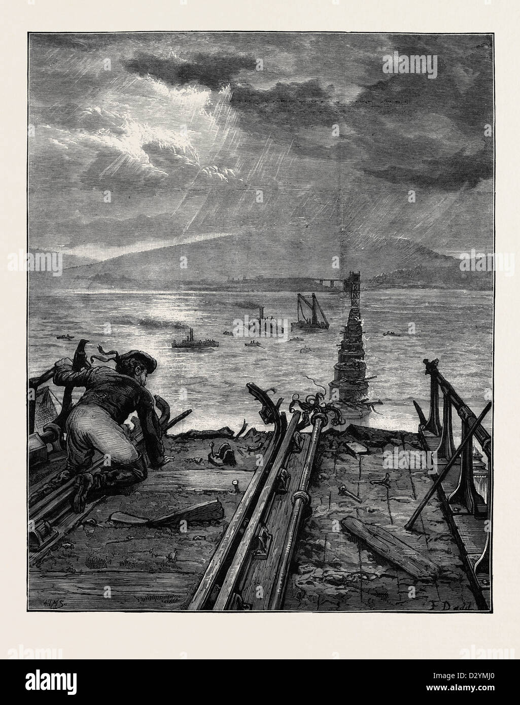 THE TAY BRIDGE DISASTER: VIEW OF THE BROKEN BRIDGE FROM THE NORTH END 1880 - Stock Image