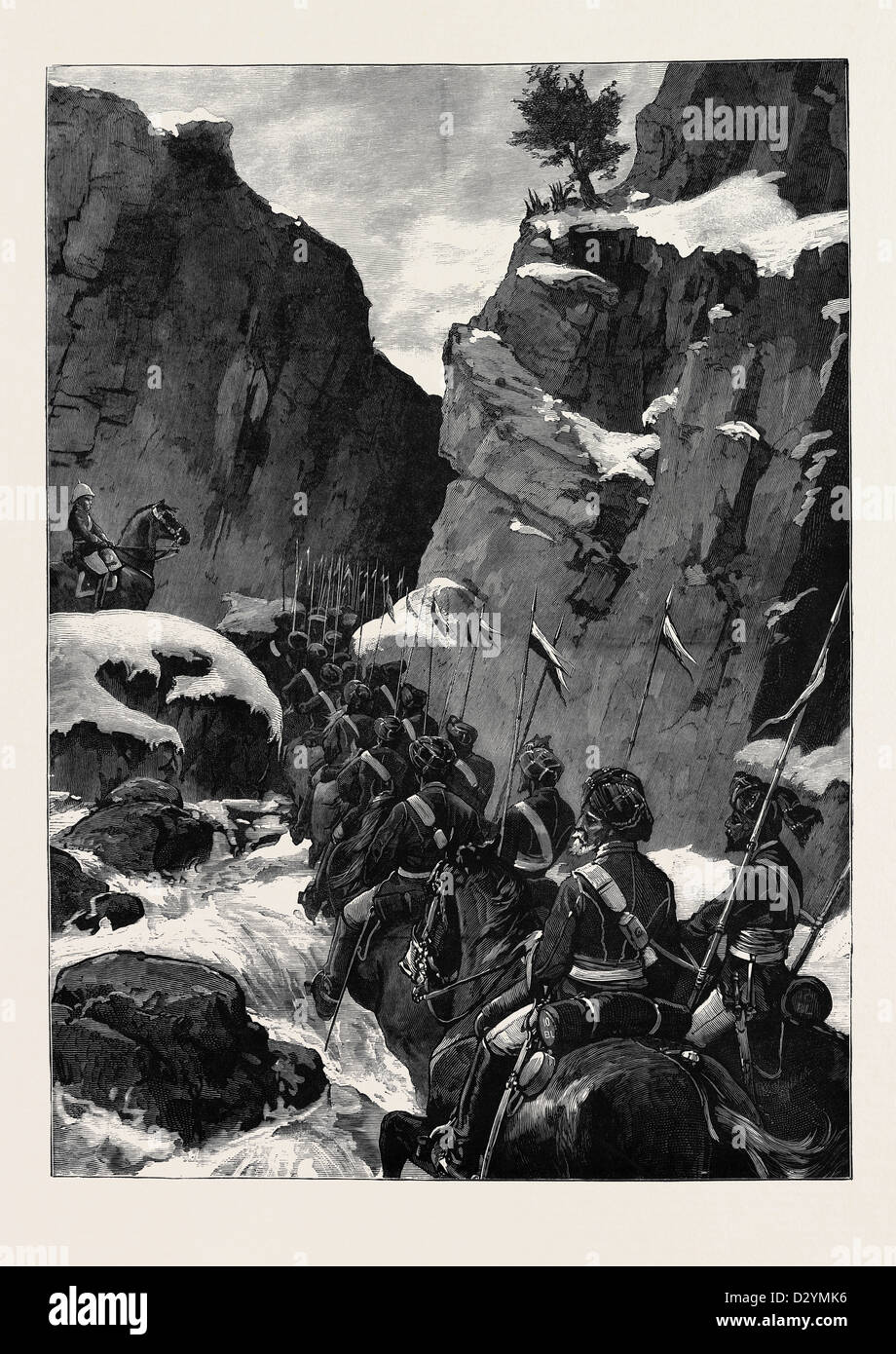 THE AFGHAN WAR: THE 10TH BENGAL LANCERS IN THE JUGDULLUK PASS 1880 - Stock Image