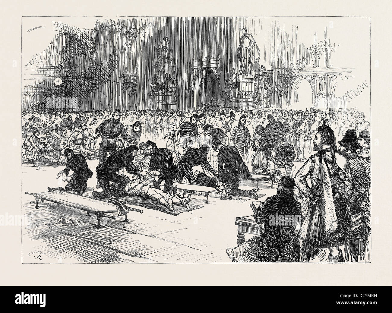 DRILL OF VOLUNTEER AMBULANCE CORPS AT GUILDHALL 1880 - Stock Image