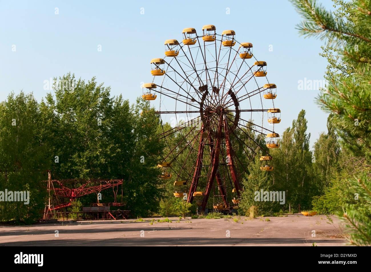 The unopened amusementpark in Pripyat Chernobyl in Ukraine Stock Photo